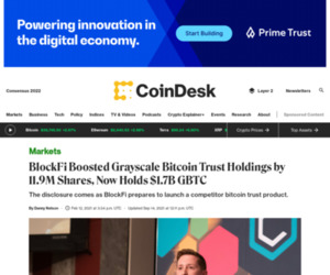 BlockFi Boosted Grayscale Bitcoin Trust Holdings by 11.9M Shares, Now Holds $1.7B GBTC - CoinDesk