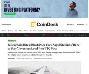 Blockchain Bites: BlockRock Exec Says Bitcoin Is 'Here to Stay,' Investors Load Into BTC Puts - CoinDesk