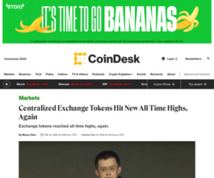 Centralized Exchange Tokens Hit New All-Time Highs, Again - CoinDesk