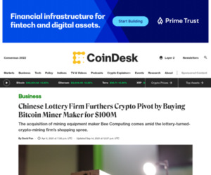 Chinese Lottery Firm Furthers Crypto Pivot by Buying Bitcoin Miner Maker for $100M - CoinDesk