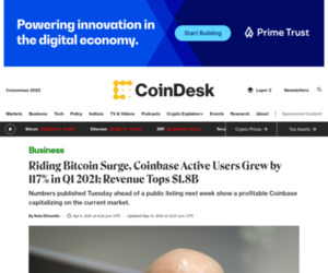 Riding Bitcoin Surge, Coinbase Active Users Grew by 117% in Q1 2021; Revenue Tops $1.8B - CoinDesk