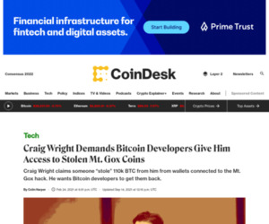 Craig Wright Demands Bitcoin Developers Give Him Access to Stolen Mt. Gox Coins - CoinDesk