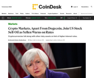 Crypto Markets, Apart From Dogecoin, Join US Stock Sell-Off as Yellen Warns on Rates - CoinDesk