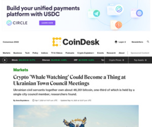 Crypto 'Whale Watching' Could Become a Thing at Ukrainian Town Council Meetings - CoinDesk