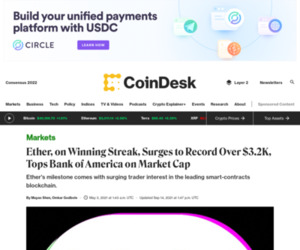 Ether, on Winning Streak, Surges to Record Over $3.2K, Tops Bank of America on Market Cap - CoinDesk