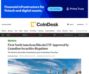 First North American Bitcoin ETF Approved by Canadian Securities Regulator - CoinDesk
