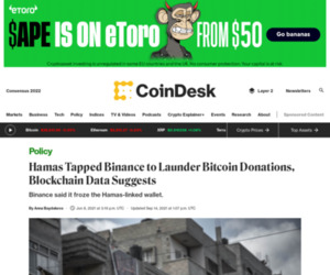 Hamas Cashed Out Bitcoin Donations on Binance, LocalBitcoins - CoinDesk