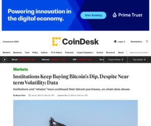 Institutions Keep Buying Bitcoin's Dip, Despite Near-term Volatility: Data - CoinDesk