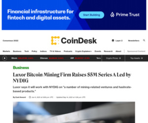 Luxor Bitcoin Mining Firm Raises $5M Series A Led by NYDIG - CoinDesk