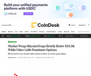 Market Wrap: Bitcoin Drops Briefly Below $33.5K While Ether Calls Dominate Options - CoinDesk
