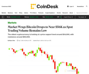 Market Wrap: Bitcoin Drops to Near $56K as Spot Trading Volume Remains Low - CoinDesk