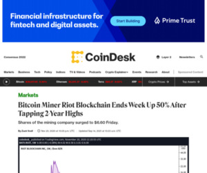 Bitcoin Miner Riot Blockchain Ends Week Up 50% After Tapping 2-Year Highs - CoinDesk