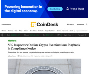 SEC Inspectors Outline Crypto Examinations Playbook in Compliance Notice - CoinDesk