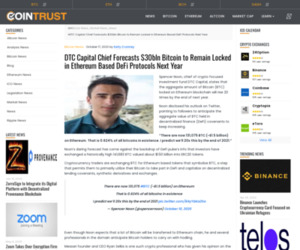 DTC Capital Chief Forecasts $30bln Bitcoin to Remain Locked in Ethereum Based DeFi Protocols Next Year