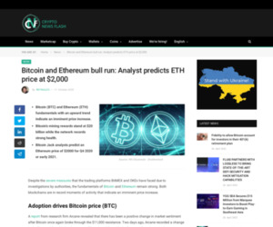 Bitcoin and Ethereum bull run: Analyst predicts ETH price at $2,000