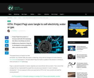 IOTA: Project Pagi uses tangle to sell electricity, water or gas