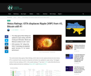 Weiss Ratings: IOTA displaces Ripple (XRP) from #3, Bitcoin still #1