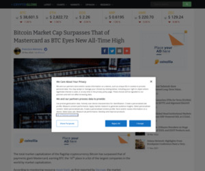 Bitcoin Market Cap Surpasses That of Mastercard as BTC Eyes New All-Time High | Cryptoglobe