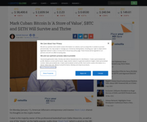 Mark Cuban: Bitcoin Is 'A Store of Value', $BTC and $ETH Will Survive and Thrive | Cryptoglobe