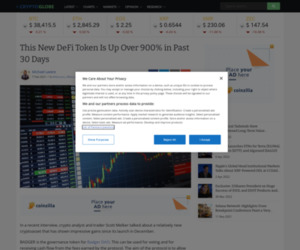 This New DeFi Token Is Up Over 900% in Past 30 Days | Cryptoglobe