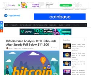 Bitcoin Price Analysis: BTC Rebounds After Steady Fall Below $11,200 - CryptoNewsZ