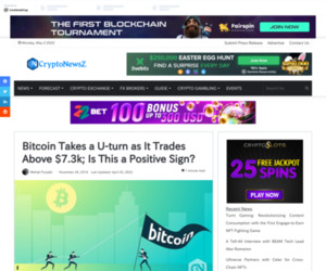 Bitcoin Takes a U-turn as It Trades Above $7.3k; Is This a Positive Sign?