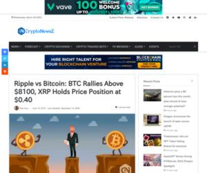 Ripple vs Bitcoin: BTC Rallies Above $8100, XRP Holds Price at $0.40