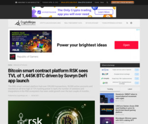 Bitcoin smart contract platform RSK sees TVL of 1,445K BTC driven by Sovryn DeFi app launch » CryptoNinjas