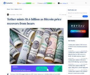 Tether mints $1.6 billion as Bitcoin price recovers from bears | Cryptopolitan