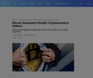 Bitcoin Dominated Weekly Cryptocurrency Inflows | Finance Magnates