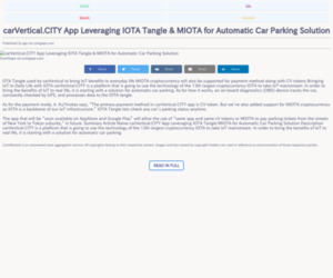 carVertical.CITY App Leveraging IOTA Tangle & MIOTA for Automatic Car Parking Solution
