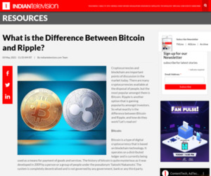 What is the Difference Between Bitcoin and Ripple?   Indian Television Dot Com