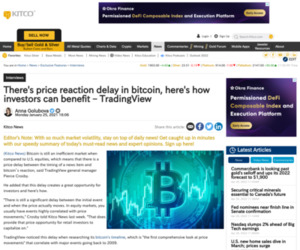 There's price reaction delay in bitcoin, here's how investors can benefit – TradingView | Kitco News