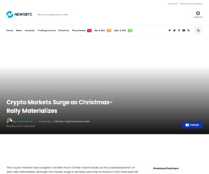 Crypto Markets Surge as Christmas-Rally Materializes | NewsBTC