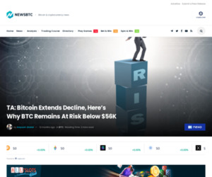 TA: Bitcoin Extends Decline, Here's Why BTC Remains At Risk Below $56K