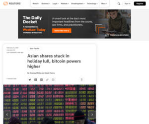 GLOBAL MARKETS-Asian shares stuck in holiday lull, bitcoin powers higher | Reuters