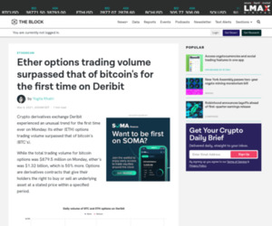 ETH options trading volume surpassed that of bitcoin's for the first time on Deribit