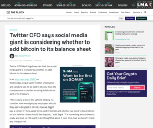 Twitter CFO says company is considering whether to buy bitcoin