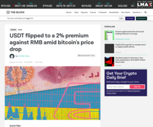 USDT flipped to a 2% premium against RMB amid bitcoin's price drop