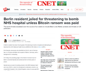 Berlin resident jailed for threatening to bomb NHS hospital unless Bitcoin ransom was paid | ZDNet