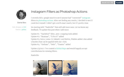 dbox - Instagram Filters as Photoshop Actions