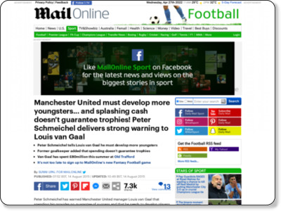 http://www.dailymail.co.uk/sport/football/article-3197432/Manchester-United-develop-youngsters-splashing-cash-doesn-t-guarantee-trophies-Peter-Schmeichel-delivers-strong-warning-Louis-van-Gaal.html