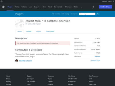 WordPress › Contact Form DB « WordPress Plugins
