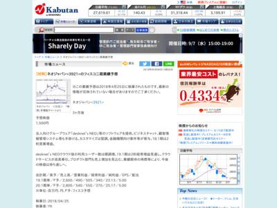 【材料】ネオジャパンのフィスコ二期業績予想 – 株探ニュース