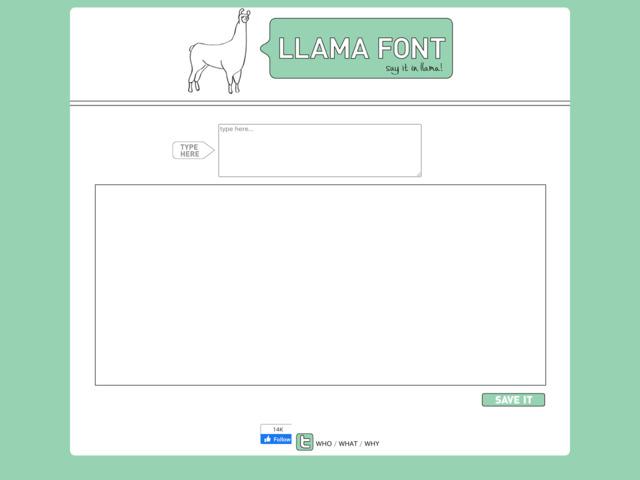 http://llamafont.com/