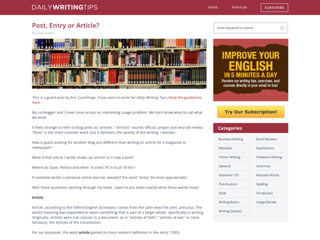 http://www.dailywritingtips.com/post-entry-or-article/
