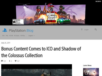 http://blog.us.playstation.com/2011/07/20/bonus-content-comes-to-ico-and-shadow-of-the-colossus-collection/