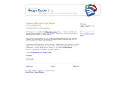 http://googlereader.blogspot.jp/2013/03/powering-down-google-reader.html