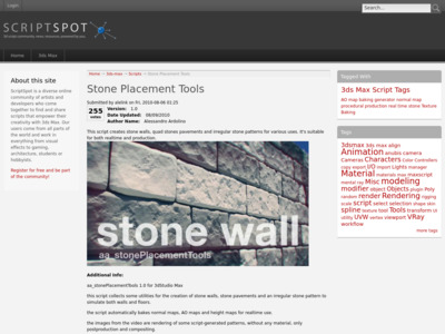 http://www.scriptspot.com/3ds-max/scripts/stone-placement-tools?utm_source=feedburner&utm_medium=feed&utm_campaign=Feed:+Cgarena-GetAttentionInCG+(CGArena+-+Get+Attention+in+the+Computer+Graphics+Community)&utm_content=Google+Reader