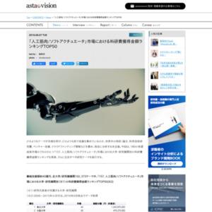 「人工筋肉/ソフトアクチュエータ」市場における科研費獲得金額ランキング